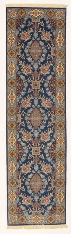 Perserteppich blau  Isfahan a.Seide blau (82x306cm)