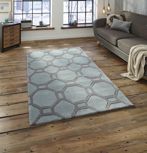 teppich montapis hk 4338 blau grau. Black Bedroom Furniture Sets. Home Design Ideas